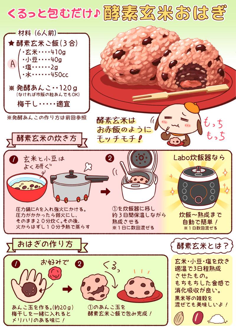 酵素玄米おはぎレシピマンガ